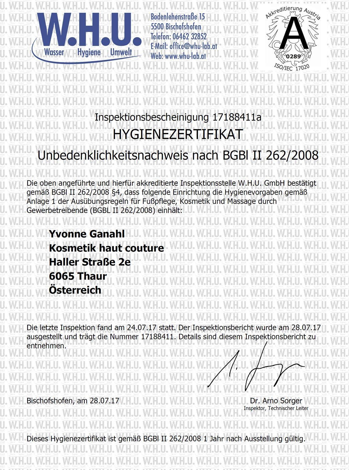 Hygienezertifikat permanent make up